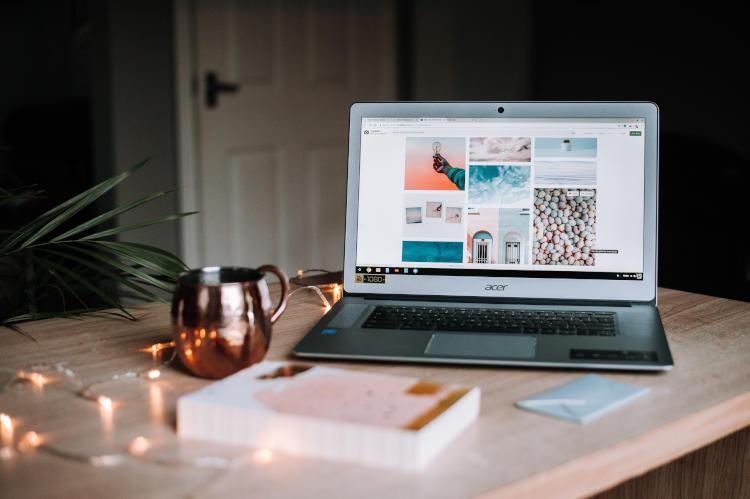 studying nursing on slim Acer laptop