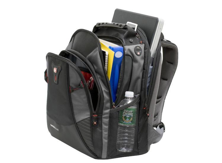 SwissGear MYTHOS backpack loaded with heavy books