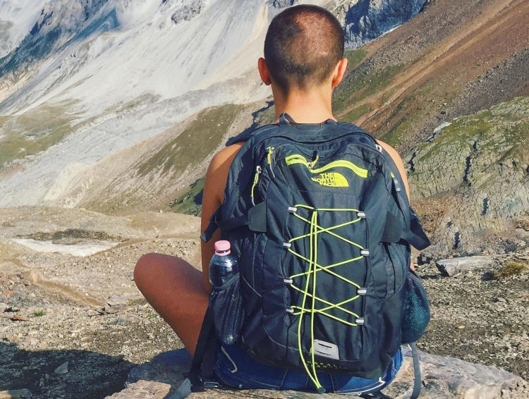 Nursing student wearing a backpack from The North Face